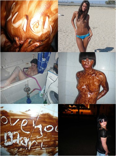 Hot Brunette Takes A Chocolate Bath